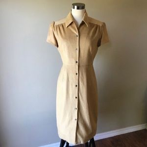 Y2K Era Golden Tan Corduroy Button Midi Dress